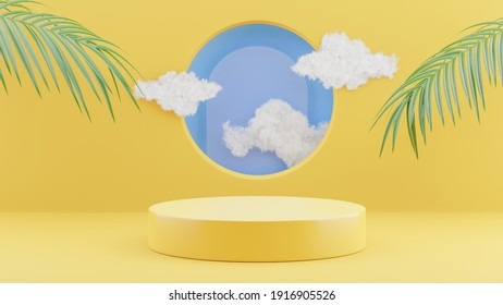 3d render of yellow podium with cloud for product display