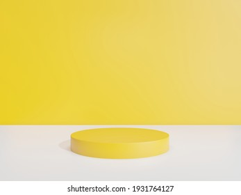 3d render - yellow podium minimal on yellow background, Display for cosmetic perfume fashion natural product, simple clean design, luxury minimalist mockup.