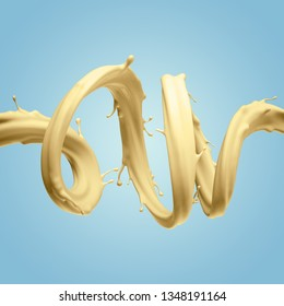 3d render, yellow twisted splashing jet isolated on blue background, liquid splash, abstract shape, pastel color paint