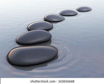 3d render zen stones on water close-up