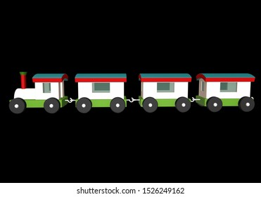 3D render-colorful Toy Train for kids isolated on black