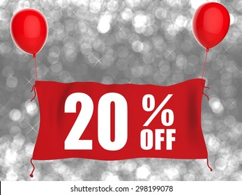 3d rendered 20%off banner on silver glitter background
