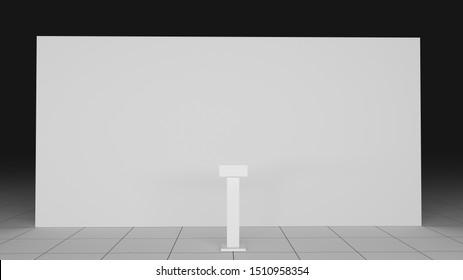3d rendered 8x4 backdrop and speech tribune mockup. Realistic illustration