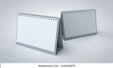 3D rendered A5 size, white blank desk spiral calendar for corporate branding presentation mockup, isolated on white with soft shadows closer view.