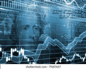 3D Rendered Abstract Background of one twenty dollar bill with stock market chart in blue color
