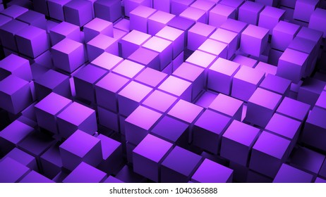 3d rendered abstract background with a lot of squares. Multi layered structure with randomly disappearing elements.