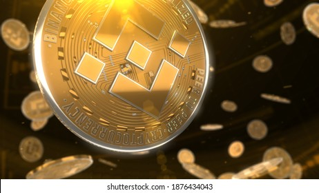 3d rendered, abstract BNB cryptocurrency coin. Close up . Binance glowed coins falling
