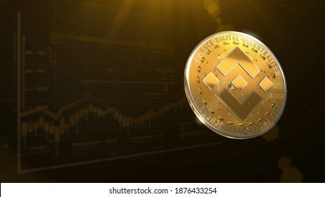 3d rendered, abstract cryptocurrency BNB coin. Close up . Binance coins glow