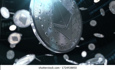 3d rendered, abstract cryptocurrency coin. Close up . Ethereum coins falling.