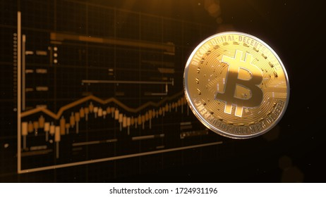 3d rendered, abstract cryptocurrency coin. Close up . Bitcoin charts.