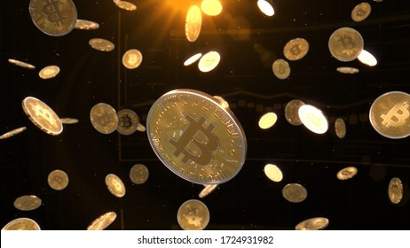 3d rendered, abstract cryptocurrency coin. Close up . Bitcoin coins falling