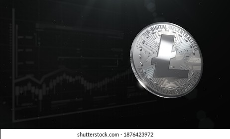 3d rendered, abstract LTC cryptocurrency Silver coin. Close up . Litecoin glare coins