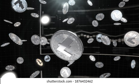 3d rendered, abstract LTC cryptocurrency coin. Close up . Litecoin glow coins falling.