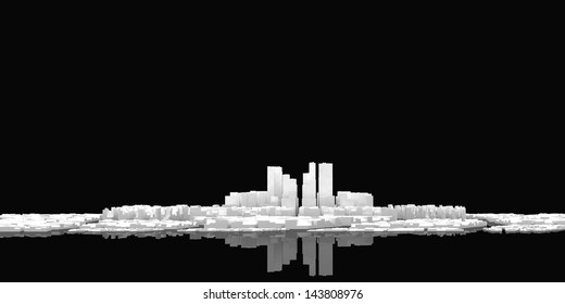 3D rendered abstract white city looking as the paper on the black background with reflected surface