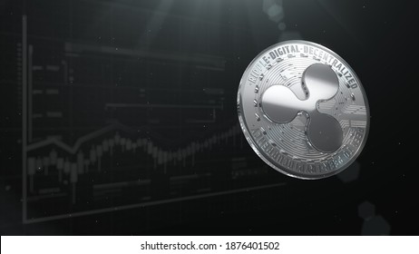 3d rendered, abstract XRP cryptocurrency Silver coin. Close up . Ripple coins falling