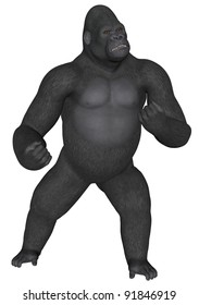 3D rendered african gorilla on white background isolated