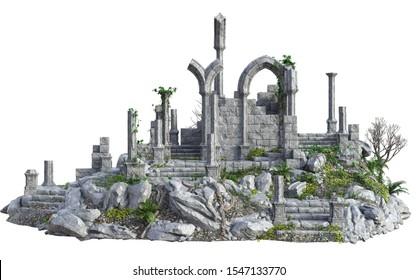 3D Rendered Ancient Castle Ruins - 3D Illustration