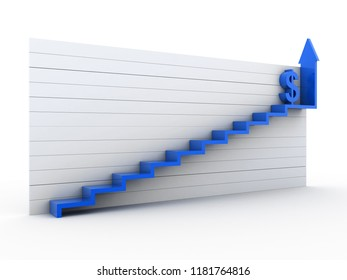 3d rendered arrows with dollar sign in white background