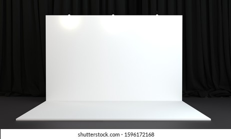 3d rendered backdrop on black background with curtains. Mockup for press wall, pop up. Template