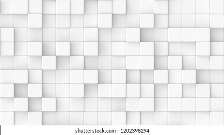 3d rendered background texture of white round edged cubes at significantly different heights.