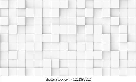 3d rendered background texture of white round edged cubes at different heights.