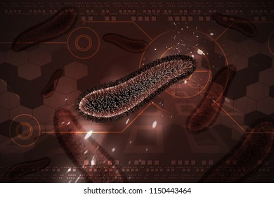 3d rendered Bacteria cells in colour background