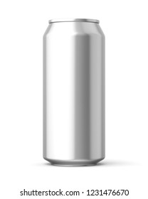 3d rendered bare metal 440ml can on a white background.