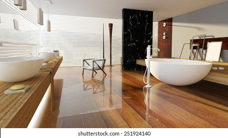 3D rendered bath room