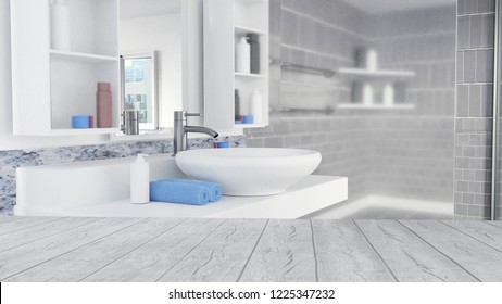 3D Rendered Bathroom Interior Design With Blue Towels and Empty Wooden Floor