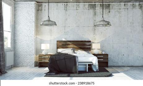 3D renderowane sypialnia w stylu przemysłowym