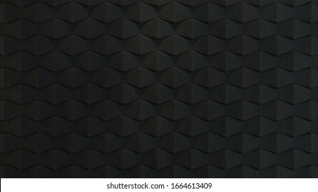 3d rendered black acoustic foam wall