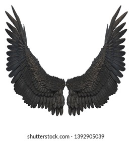 3D Rendered Black Fantasy Angel Wings on White Background - 3D Illustration