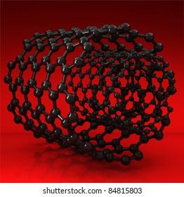 3D rendered black nanotubes on red background