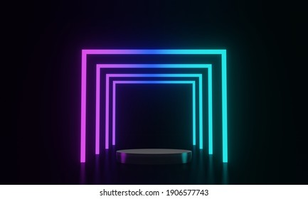 3D rendered black podium and neon light background