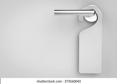 3d rendered blank sigs hanging on door handle