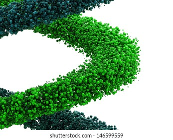 3D rendered  blue and green bubbles, isolated,  against white background