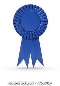3D rendered Blue ribbon/Award. Clipping path included.