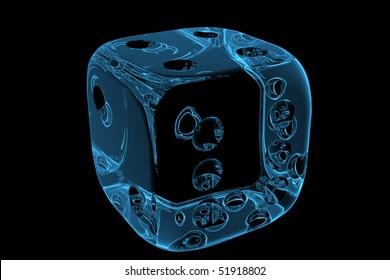 3D rendered blue xray transparent casino dice