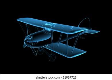 3D rendered blue xray transparent biplane