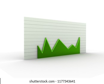 3d rendered busiiness graph isolated on white background