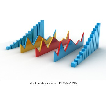 3d rendered business graph isolated on white background
