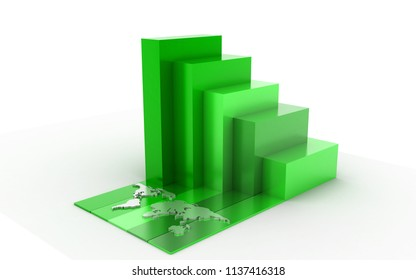 3d rendered Business graph in white background