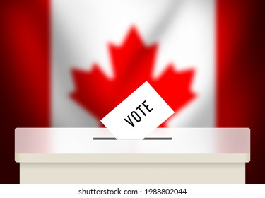 3D Rendered Canada Elections Backdrop with Vote box and flag in the back. Modern federal elections background wallpaper