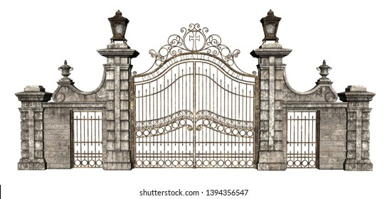 3D Rendered Cast Iron Gate on White Background - 3D Illustration