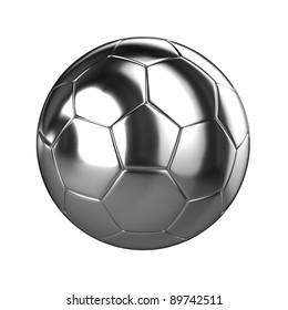 A 3d Rendered Chrome Soccer Ball Illustration