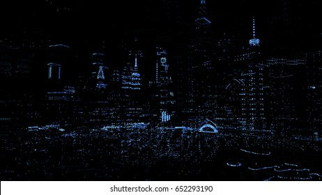 3d rendered concept of digital city. Dot particles skyscrapers. Abstract futuristic technology concept. Hologram style.