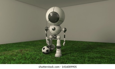 3D rendered concept of a Robot with Artificial Intelligence playing football
