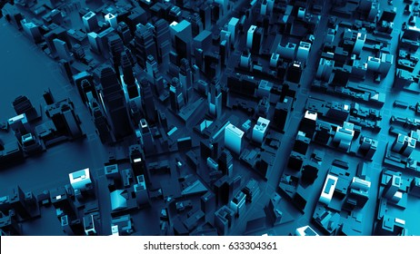 3d rendered digital abstract city. Scanning city for hackers attack concept. City building forms with reflections, shadows and random elements. High quality detailed render