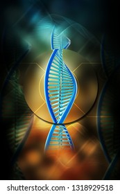 3d rendered dna  isolated on color background