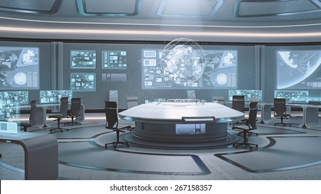 3D rendered empty, modern, futuristic command center interior